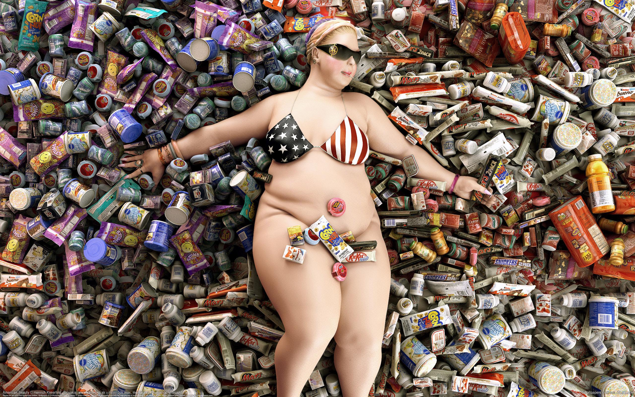 Толстушка, банки, америка, потребление, 2560x1600